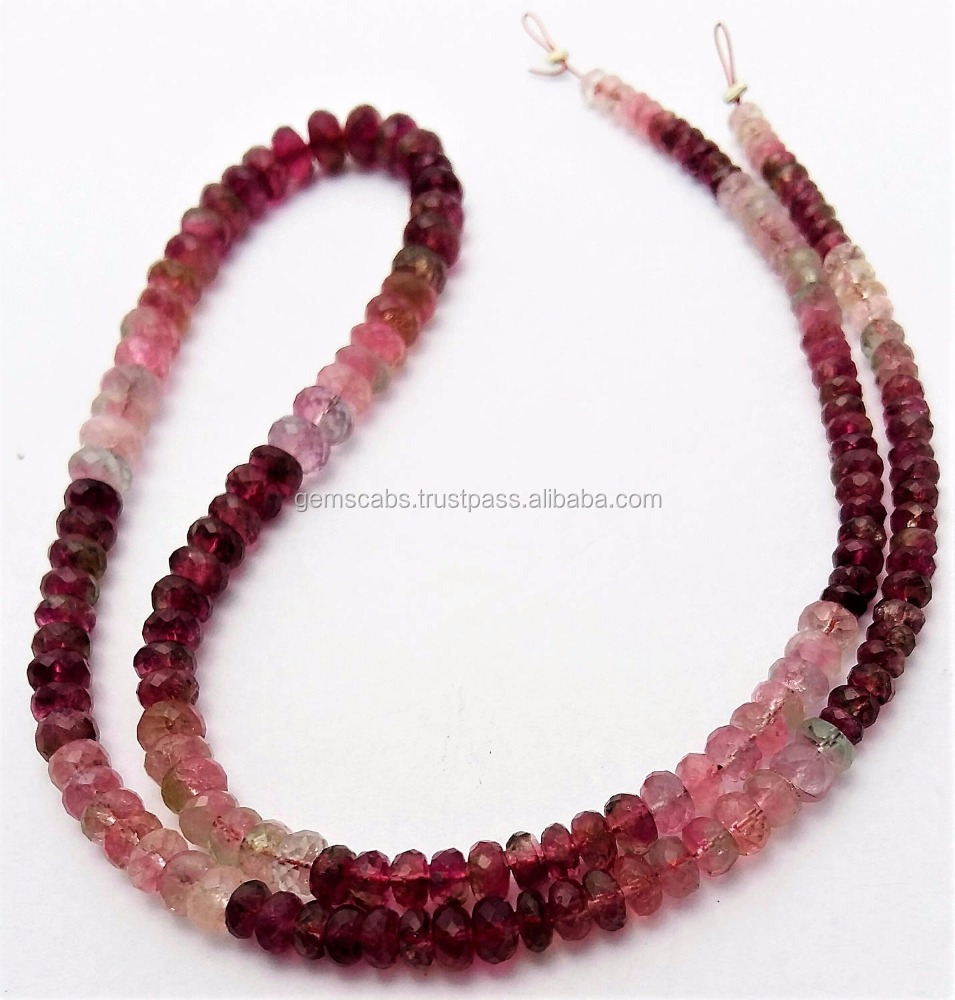 Watermelon Pink Tourmaline Faceted beads 3 mm to 5 mm,Top Quality Tourmaline Gemstone Rondelle Beads