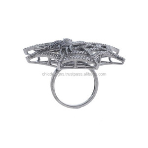 Pave Diamond Jewelry 925 Sterling Silver Designer Spider Spirit Rings