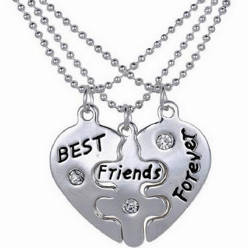 Tre Cuore Petalo Amiche Best Friends Forever Collana Pendente Di