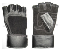 Fitness and Exercise Gloves Combination of Real Leather and Stretchable Fabric with WRIST WRAP