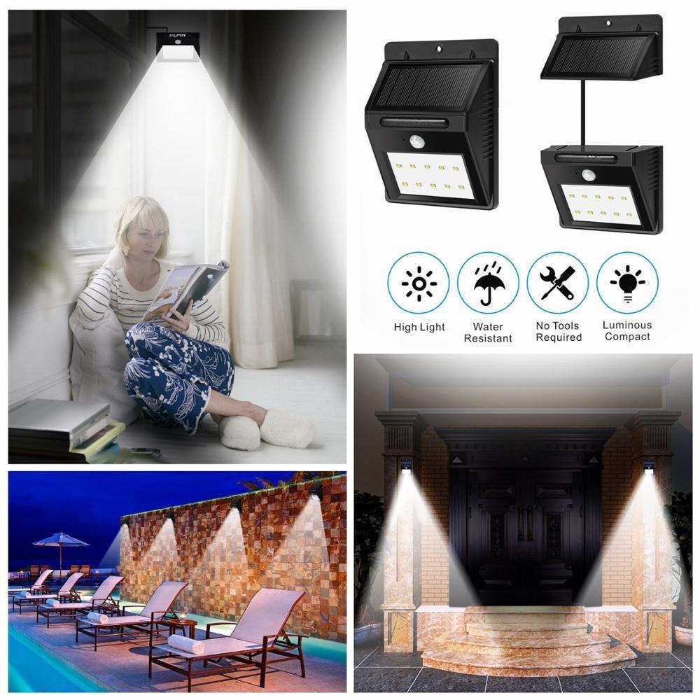 8 Led Solaire De Puissance Kits Lumière Étanche Lampe Extérieure Jardin  Chemin Motion Sensor Mur De Sécurité Sans Fil À Domicile,Porche,Escaliers  ...