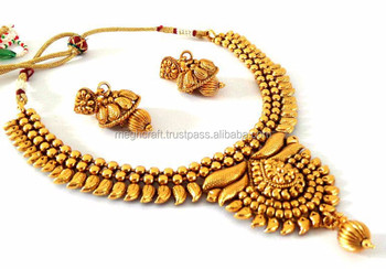 Indian Whole One Gram Gold Plated Jewelry Wedding Wear Set For Women And S
