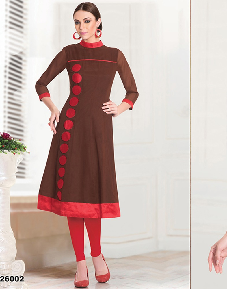 32074cbf2f Surat Tex Red Bordered Brown Color Kurti - Buy Color Combination ...