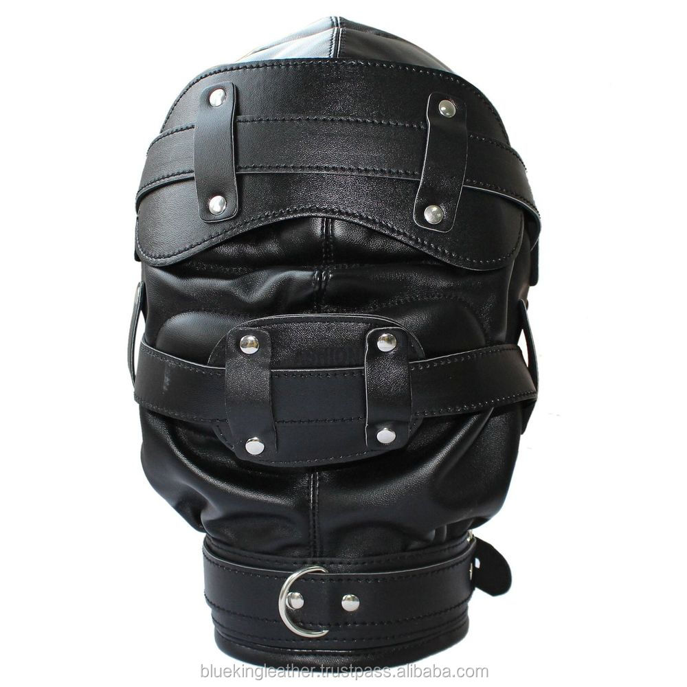 """Slave Hood With Removable Blindfold and Mouth Piece Genuine Leather /""""NEW/"""""""