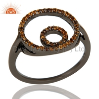 2016 Handmade Rhodium Plated 925 Silver Ring Spessartite Garnet Gemstone Designer Rings Jewelry Wholesaler
