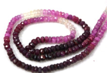 wholesale lot ruby shaded gemstone roundel faceted loose beads