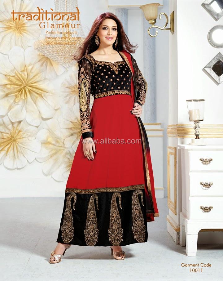 Sonali Bendre Red Party Wear Designer Lace Work Pakistani Anarkali ...