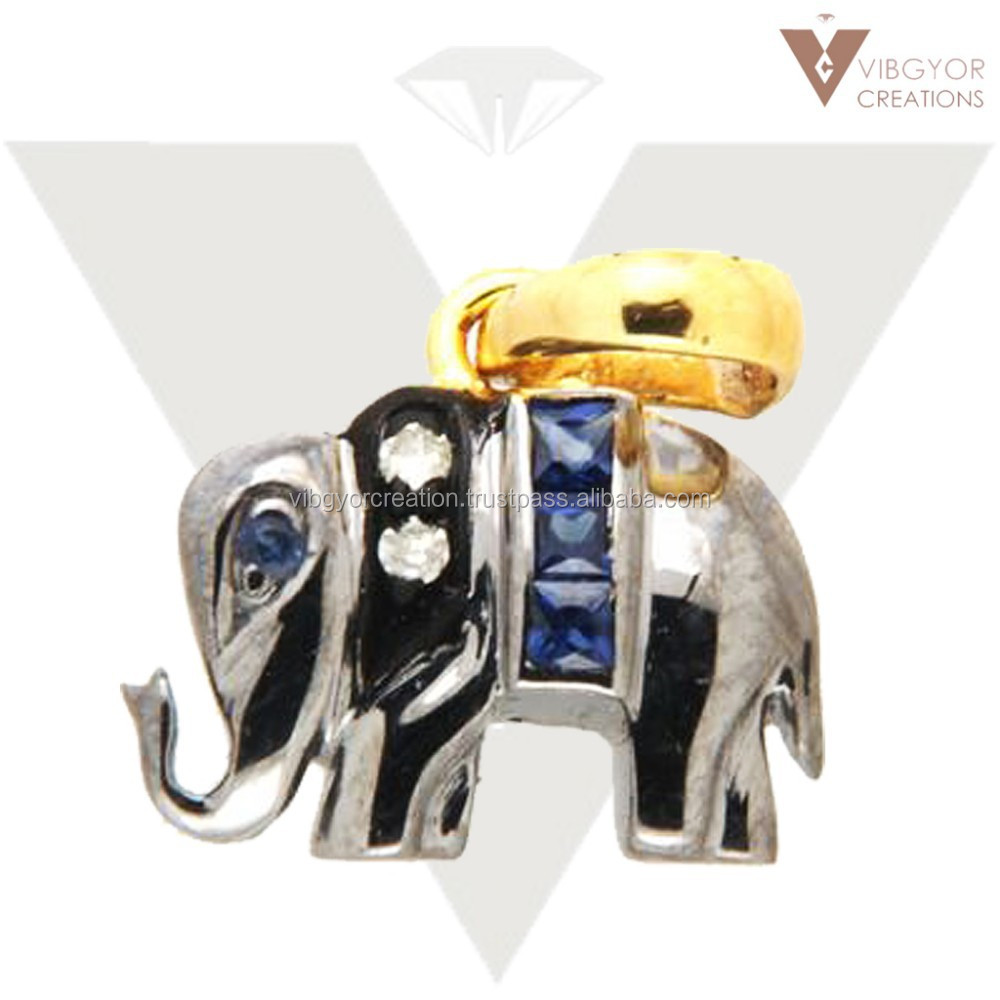Sapphire gemstone pave diamond 925 sterling silver 14k gold elephant design finding charm pendant