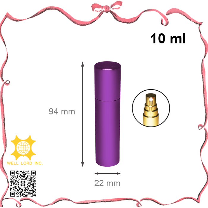 10ml high quality violet spray aluminum cover glass empty perfume atomizer