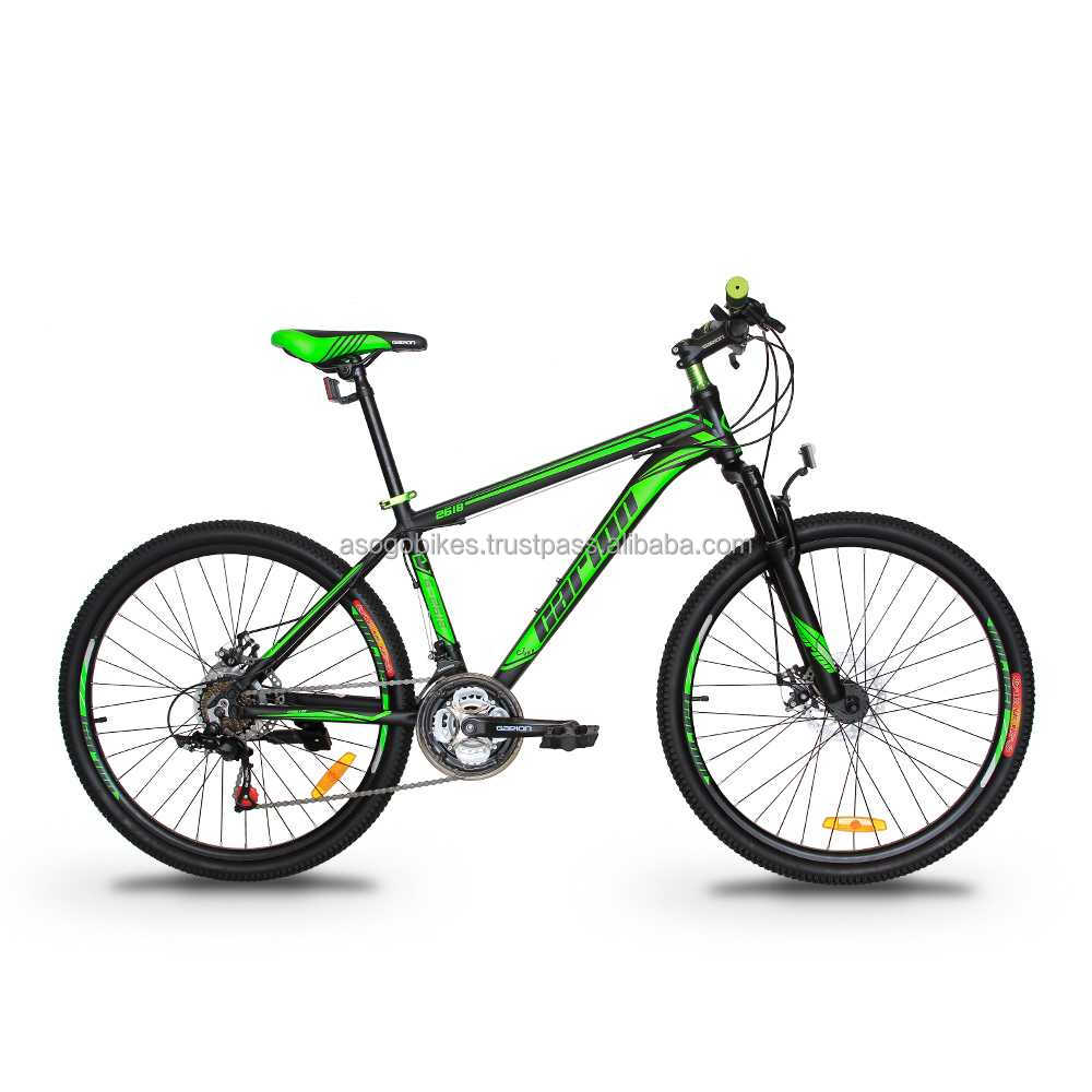 "GARION 26"" Alloy MTB Bike Mountain Bike with Disc Brake 21 Speed Matte Black with Green"