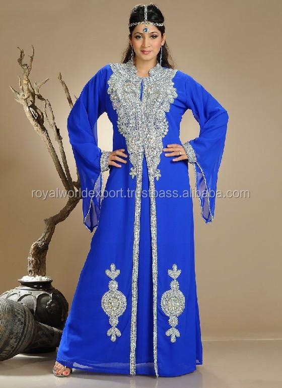 Muslim bridal wear moroccan wedding kaftans Dubai Fancy Blue Kaftan ...