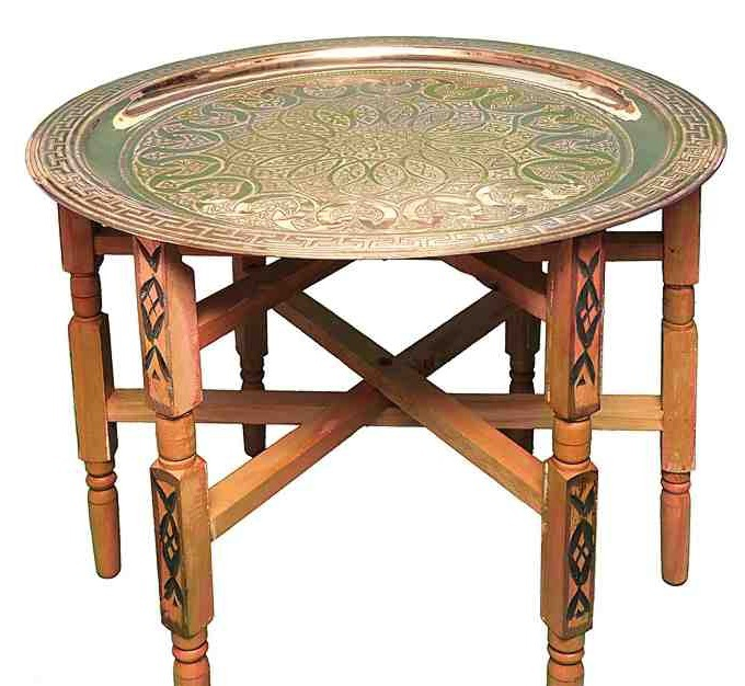 Vintage Moroccan Handmade Tea Tray Tables With Carved Wood Legs