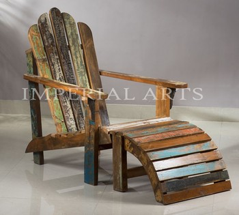 Indian Recycled Wood Adirondack Chair Knock Down For Living Room