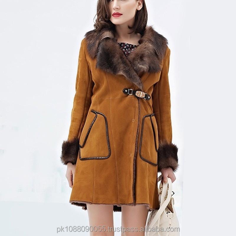 Womens Winter Long Shearling Sheepskin Coat - Buy Sheepskin Long