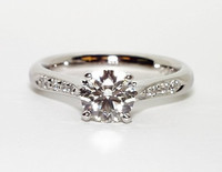 Certified 1.30CT Round Cut Real Diamond Engagement Ring