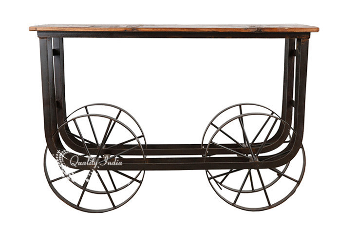 Industrial Wooden & Metallic Table With Big Wheels