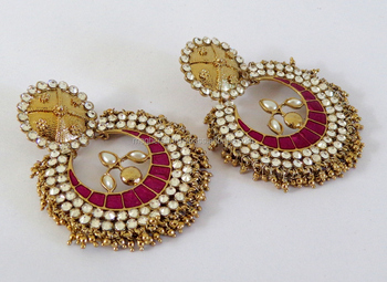 ec73180b3 PAKISTANI WEDDING WEAR EARRING-CHANDELIER EARRINGS-WHOLESALE GOLD PLATED IMITATION  PEARL JEWELLERY-PEARL