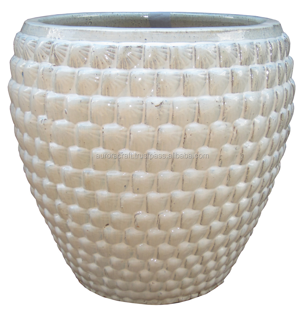 tall outdoor large glazed ceramic planter - Large Ceramic Planters