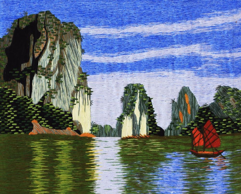 Geborduurd schilderij halong bay quang ninh vietnam landschap ...