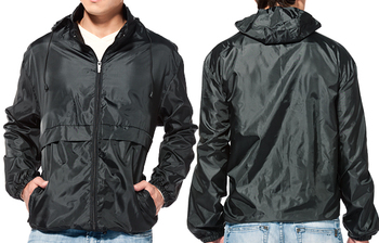 Men Rain Jacket / Jet Black Rain Jacket With Hood / Pack-able Rain ...