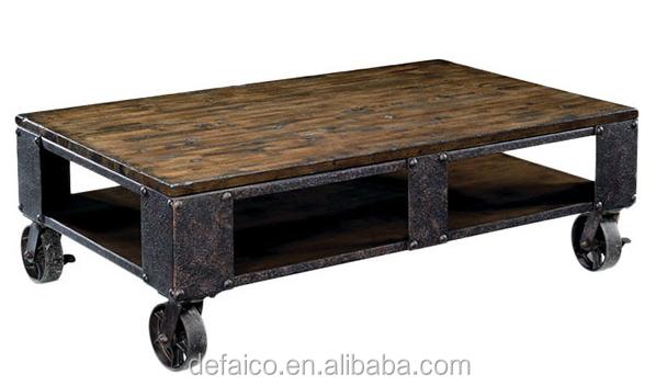 Tavolo Stile Industriale : Rustico stile industriale salotto tavolino con ruote buy tavolino