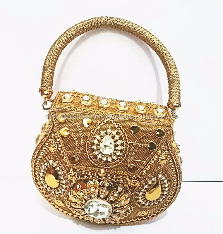 Handmade Metal Clutch Las Golden Handbags With High Quality Stone Work Bridal Evening Sling