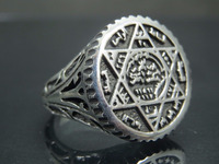 925 Sterling Silver Turkish Ottoman The Seal of David Man Ring Jewelry