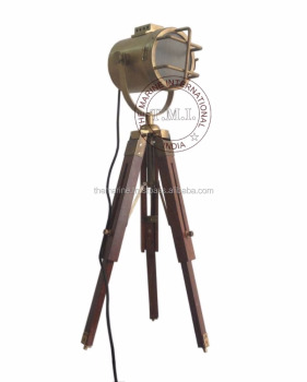 Black & Brown Antique Nautical Search Light with Wooden Tripod Stand ~ Collectible Authentic Model Spotlight