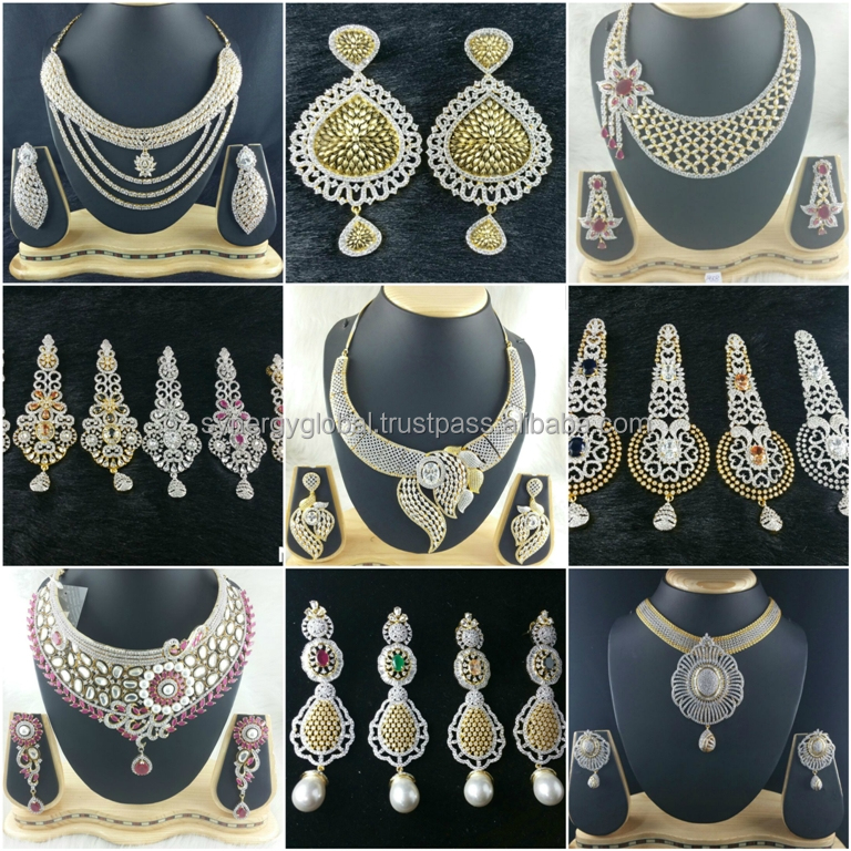 American Diamond Cz Heavy Bridal Jewelry Set Bollywood Style Necklace Indian Imitation Earrings Diamonds