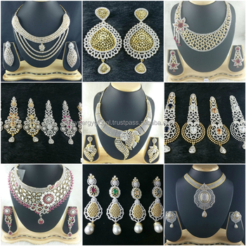 American Diamond Cz Heavy Bridal Jewelry Set Bollywood Style