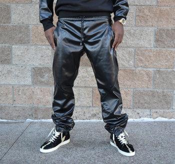Strakke Joggingbroek Mannen.Nieuwe Mode Merk Lederen Joggingbroek Mannen Slim Pant Mannen