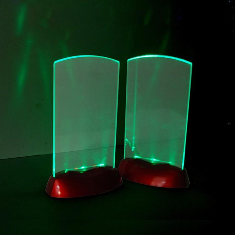 Plastic Acrylic Led Light Flashing Table Tent Card Holder