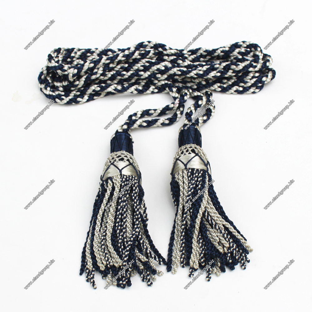 Scottish Great Highland Bagpipe Silk Drone Cord White & Dark Blue | Silk Drone Cord