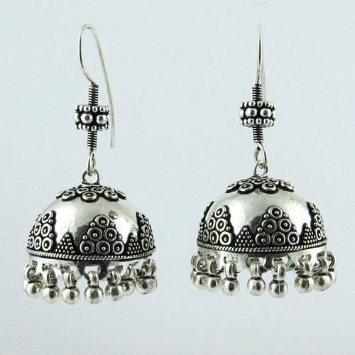 Modern Oxidized Plain Silver 925 Sterling Earring Indian Whole Jewelry Handmade Earrings