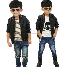 Autumn and winter Korean fashion children boys outerwear high quality PU leather black motorcycle jacket kids