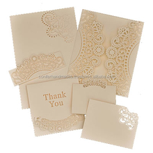 custom made laser cut and screen printed wedding cards set along with printed rsvp cards , thank you cards and envelopes