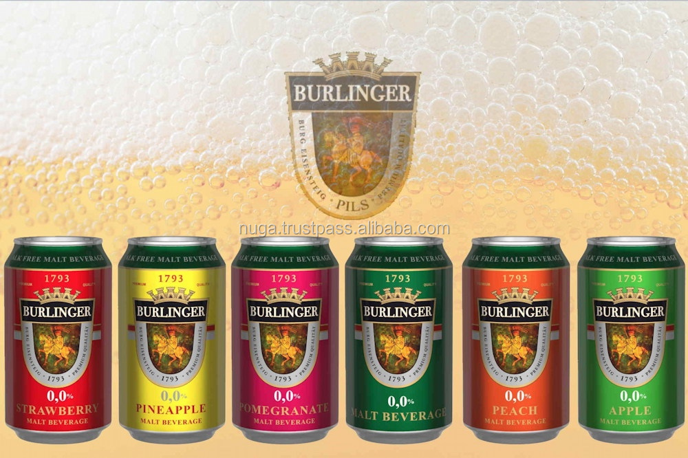 BURLINGER - ORIGINAL non alcoholic fruit malt BEVERAGE - 0% alcohol beer - white