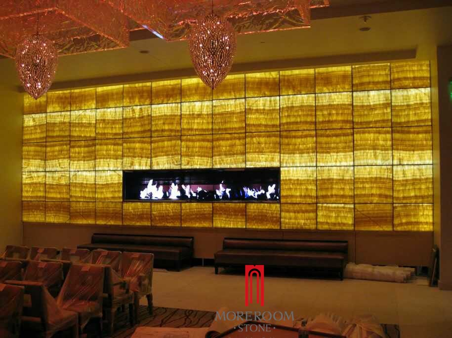 Yellow Onyx Stone Tile With Led Light Background Wall Decoration ...