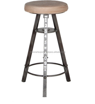 Vintage Iron Metal 3 Legs Bar Stool With Wood Top