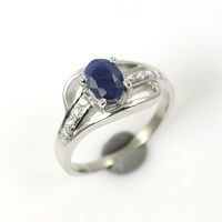 925 Sterling Silver Natural Blue sapphire Zircon CZ Gemstone Ladies Girls Proposal Wedding Bridal Cocktail Party Prong Set Ring