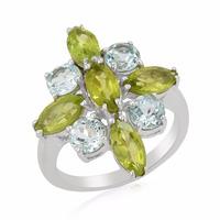 4.42 Cts Peridot & Sky Blue Topaz 925 Strling Silver Flower Ring For Women