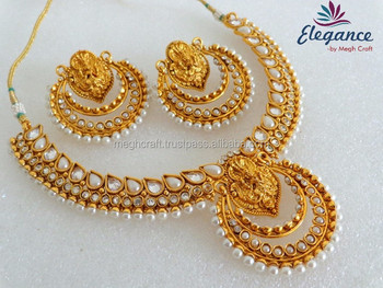 Bollywood Ramleela style necklace set - Indian gold plated necklace set - Wholesale south indian pearl & Bollywood Ramleela Style Necklace Set - Indian Gold Plated Necklace ...