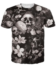 Skull fiori sublimazione t-shirt/custom made Stampato t shirt/AT Noki