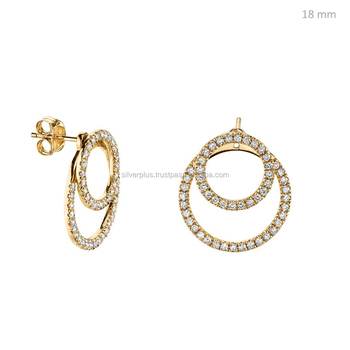 Genuine Diamond 18kt Gold Beautiful Designed Stud Earrings This Available In All Rose