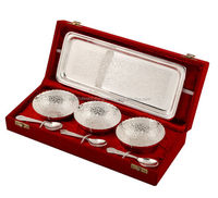 Indian Handicrafts German Silver White Metal Bowl Set For Wedding ...