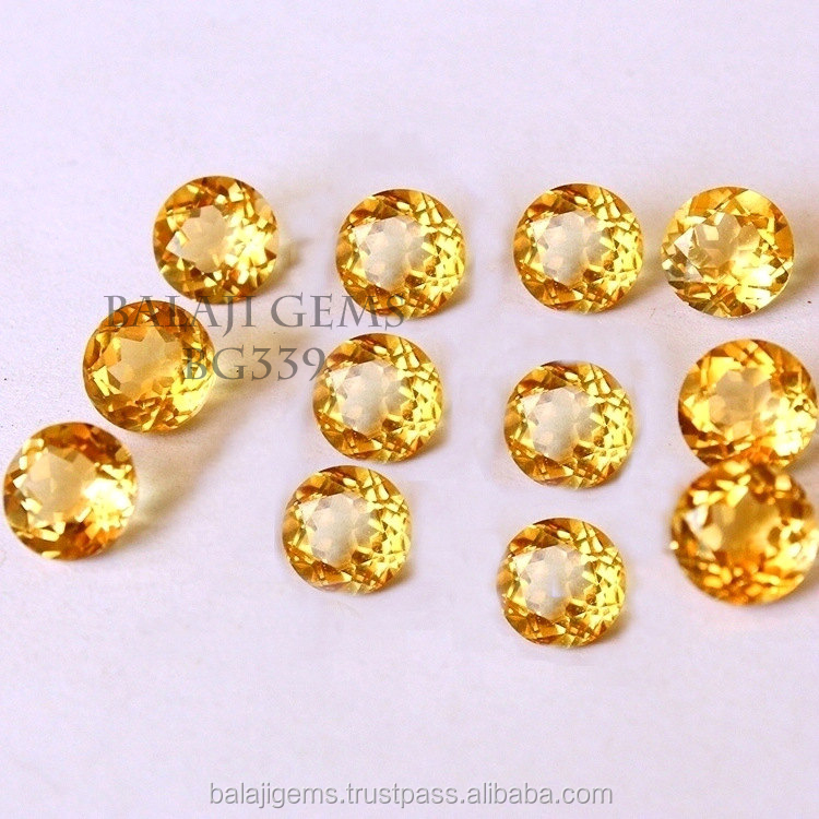 Round Facet Cut Natural Mineral stone Citrine Stones in Loose Gemstone