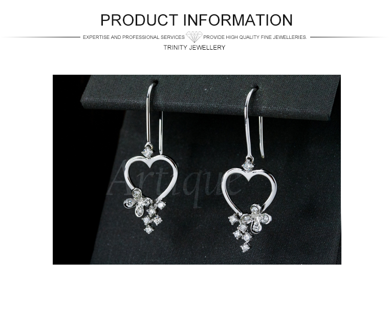 Diamond Heart Shaped Dangler Drop Earrings Solid Gold Simple ...