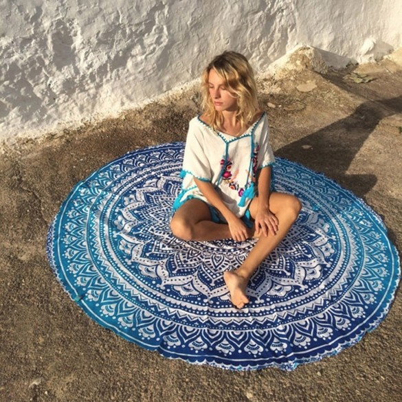Summer Women Round Print Beach Towel Tapestry Wall Hanging Shawl Yoga Mat Multifunctional