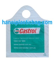 100% Ink printing -thick/thin Plastic Bag with Wave top handle