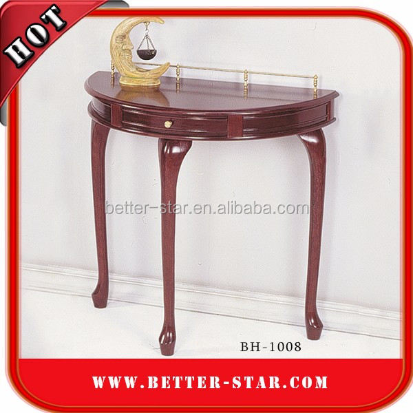 half round wooden corner console table